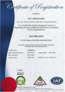 JNC Packers and Movers : An ISO 9001:2015 Certified Company in Kota, Rajasthan, India